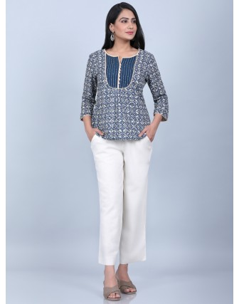 Suti Womens COTTON TOP WITH WITH TAGAI YOKE,NAVY BLUE