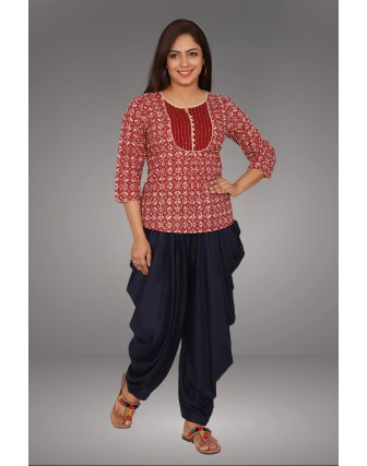 SUTI WOMENS COTTON WITH TOP N TUNIC, MAROON