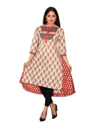 SUTI WOMENS COTTON PRINTED LONG KURTI, RED