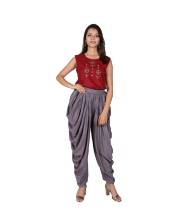 LADIES DHOTI PANT, GREY