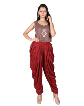 LADIES DHOTI PANT, MAROON