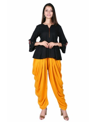 LADIES DHOTI PANT, MUSTARD