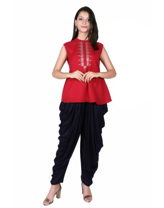 LADIES DHOTI PANT, NAVY BLUE