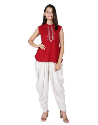 LADIES DHOTI PANT, OFF WHITE