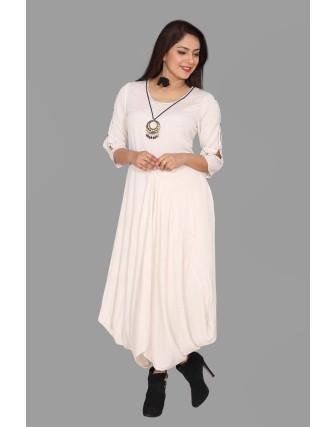 SUTI WOMENS RAYON FLEX LONG DRESS, NATURAL