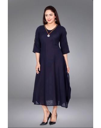 SUTI WOMENS COTTON SOLID SLUB DRESS, NAVY BLUE