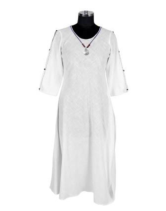 SUTI WOMENS COTTON SOLID SLUB DRESS, OFF WHITE