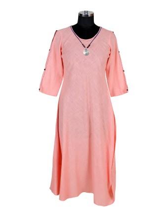 SUTI WOMENS COTTON SOLID SLUB DRESS, PEACH