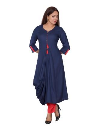 SUTI WOMENS RAYON LADIES DRESS, NAVY BLUE
