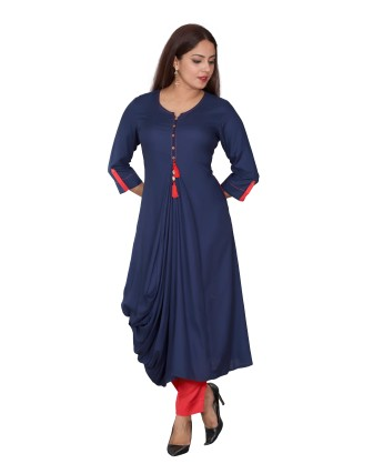RAYON LADIES DRESS, NAVYBLUE