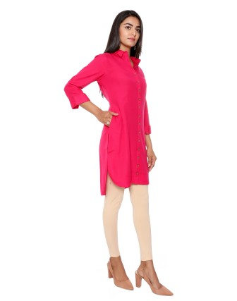 SUTI WOMENS RAYON PLAIN TOP N TUNIC, VALENTINE