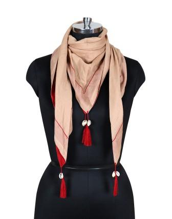 Suti Womens Cotton Scarf With Latkan, Dark Beige