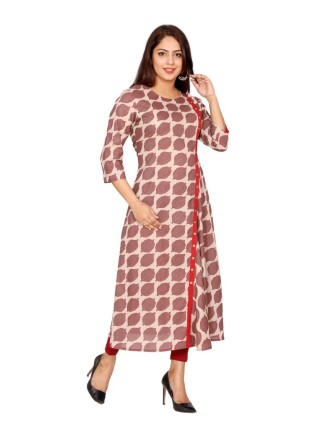 SUTI WOMENS COTTON PRINTED FLAIRED DRESS, KASHISH