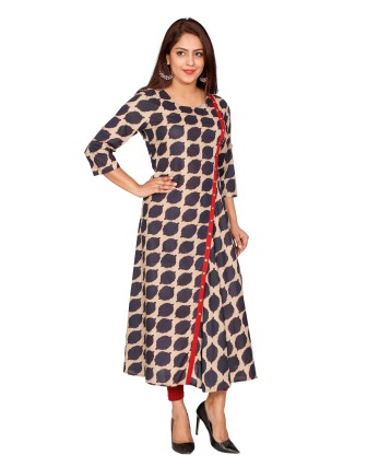 SUTI WOMENS COTTON PRINTED FLAIRED DRESS, NAVY BLUE