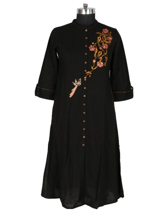 SUTI WOMENS COTTON EMBROIDED LONG KURTI, BLACK