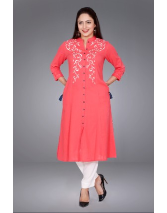 SUTI WOMENS COTTON EMBROIDED LONG KURTI, CORAL