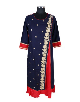 SUTI WOMENS RAYON EMBROIDED DOUBLE LAYER KURTI, BLUE RED