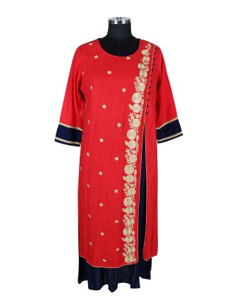 SUTI WOMENS RAYON EMBROIDED DOUBLE LAYER KURTI, RED BLUE