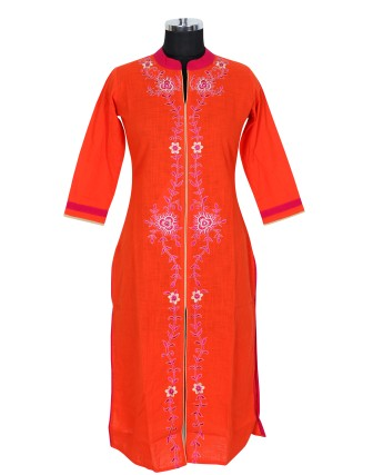 SUTI WOMENS COTTON EMBROIDED LONG KURTI, ORANGE