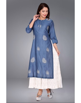 SUTI WOMENS CHANDERI EMBROIDED DOUBLE LAYER KURTI, SLATE GREY