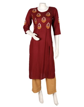 SUTI WOMENS RAYON LADIES EMBROIDED COMBO, DEEP MAROON