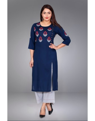 SUTI WOMENS RAYON LADIES EMBROIDED COMBO, NAVY BLUE