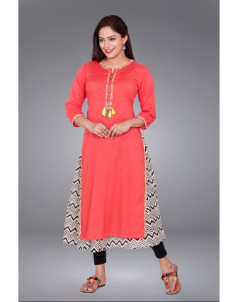 SUTI WOMENS COTTON EMBROIDED LONG KURTI, PEACH