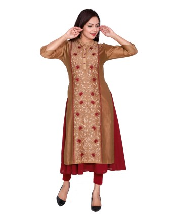 Suti Women`s Chanderi Embroidered Double Layered Flared Dress, Khakhi