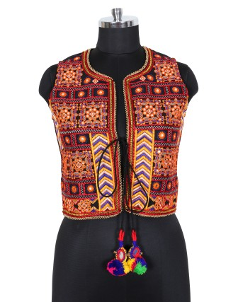 SUTI WOMENS COTTON EMBROIDED JACKET, MULTI COLOR