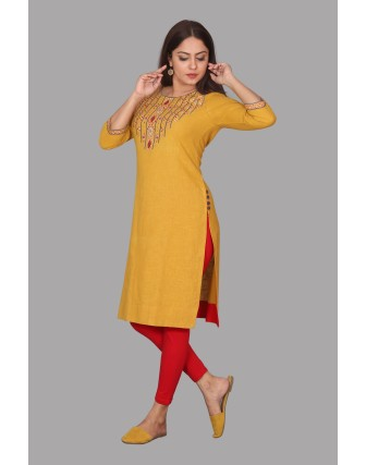 SUTI WOMENS COTTON EMBROIDED LONG KURTI, MUSTERED