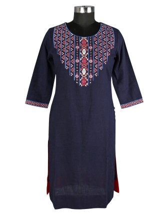SUTI WOMENS COTTON EMBROIDED LONG KURTI, NAVY BLUE