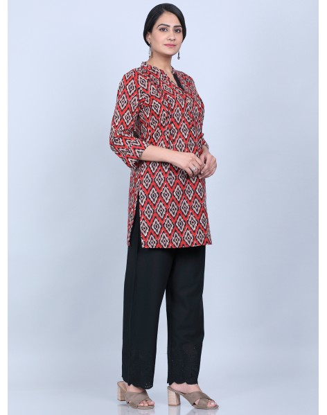 Suti Women,s Printed Top With Trouser, RED