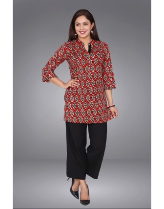 SUTI WOMENS COTTON PRINTED TOP N TUNIC, RED