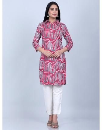 Suti Women's Women Printed Tunic With Slim Pant, FUSCIA