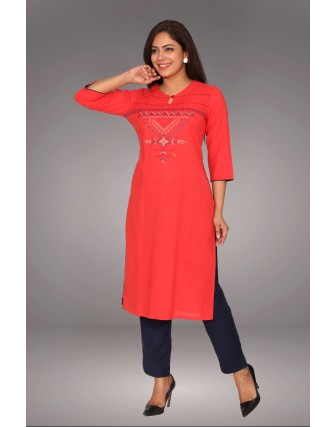 SUTI WOMENS COTTON  KURTI, CORAL
