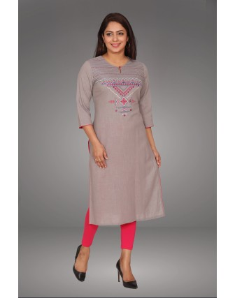 SUTI WOMENS COTTON  KURTI, GREY