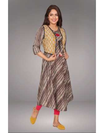 SUTI WOMENS COTTON DIAGONAL PRINTED DRESS, KASHISH