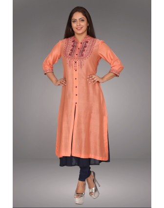SUTI WOMENS CHANDERI EMBROIDED DOUBLE LAYER KURTI, PEACH