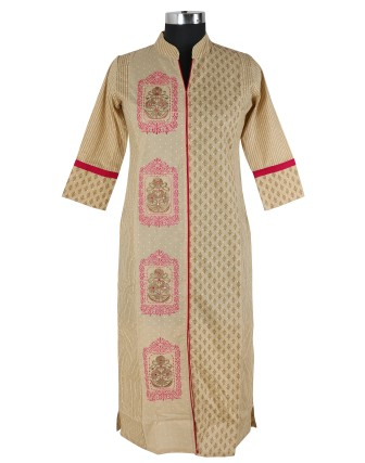 SUTI WOMENS COTTON EMBROIDED LONG KURTI, BEIGE PINK
