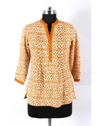 SUTI WOMENS COTTON PRINTED TOP N TUNIC, MUSTERED