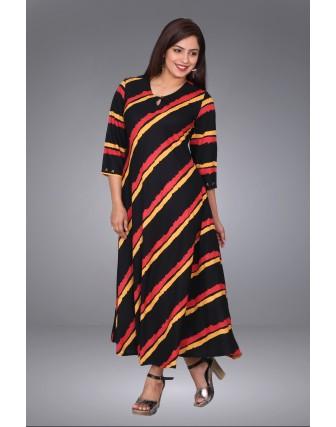 SUTI WOMENS RAYON PRINTED FLAIRED  DRESS, BLACK
