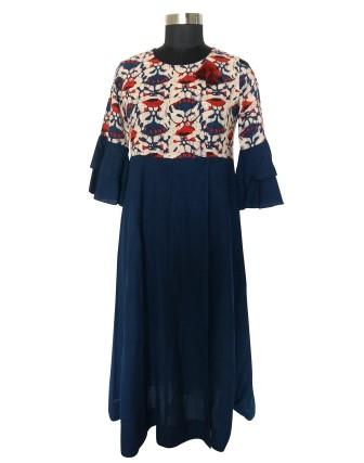 SUTI WOMENS RAYON CUT SHOULDER DRESS, BLUE