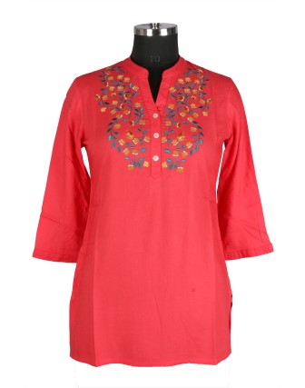 SUTI WOMENS RAYON EMBROIDED TOP N TUNIC, CORAL