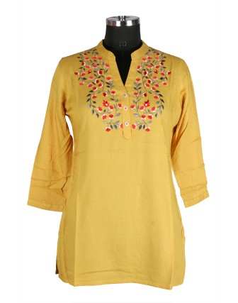 SUTI WOMENS RAYON EMBROIDED TOP N TUNIC, MUSTERED
