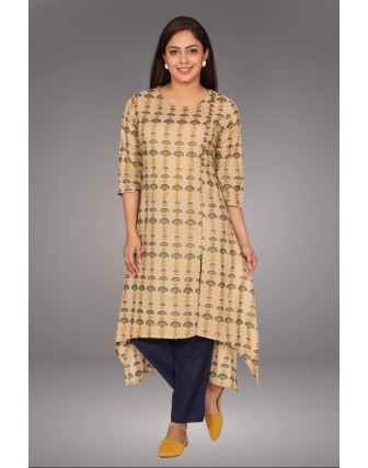 SUTI WOMENS COTTON PRINTED FRONT SIDE A- LINE  KURTI, BEIGE