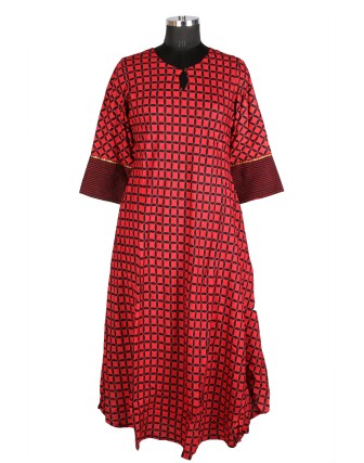 SUTI WOMENS RAYON PRINTED FLAIRED DRESS, RED