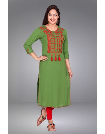 SUTI WOMENS COTTON FLEX EMBROIDED LONG KURTI, GREEN