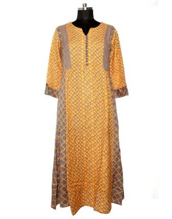 SUTI WOMENS RAYON FLEX FLEX DOUBLE GEOMETRIC DRESS, MUSTERED