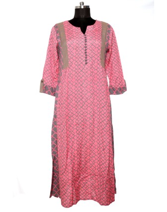 SUTI WOMENS RAYON FLEX FLEX DOUBLE GEOMETRIC DRESS, PINK