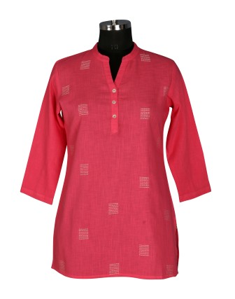 SUTI WOMENS COTTON EMBROIDED SHORT TOP N TUNIC, PINK